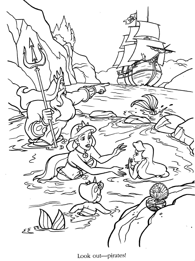 Ariel And Her Sisters Coloring Pages Coloring Home