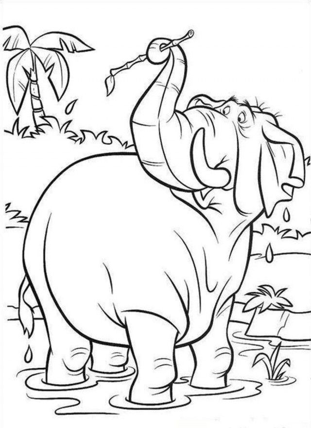 Jungle Book Curious Elephant Coloring Page Coloringplus 178825