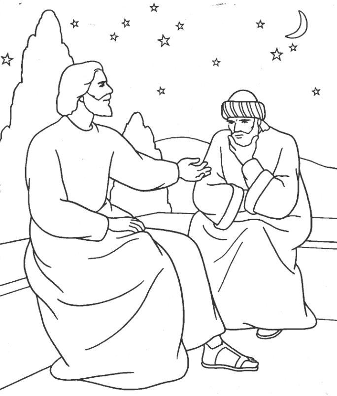 Jesus And Nicodemus Coloring Page