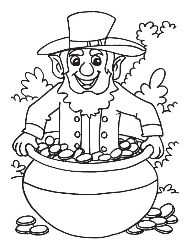 Leprechaun pot of gold coloring home for Pot of gold coloring page printable
