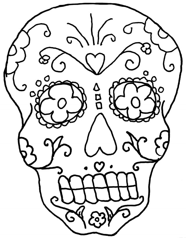 Coloring Pages Dazzling Sugar Skull Coloring Pages Coloring Page