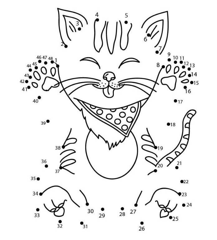 cute little cat animal dot to dot dimagiz dots to dots image