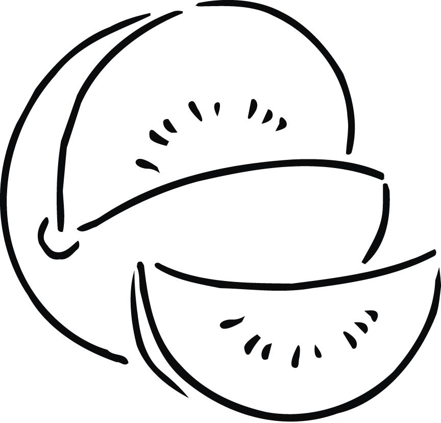 coloring sheet of melon outline for kids - Coloring Point