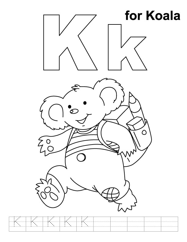 K Is For Koala Coloring Page K for koala coloring page with