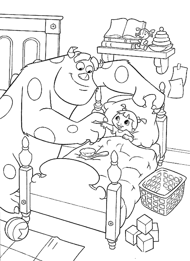 Monster Sulley And Mike Running Coloring Pages - Monster Inc