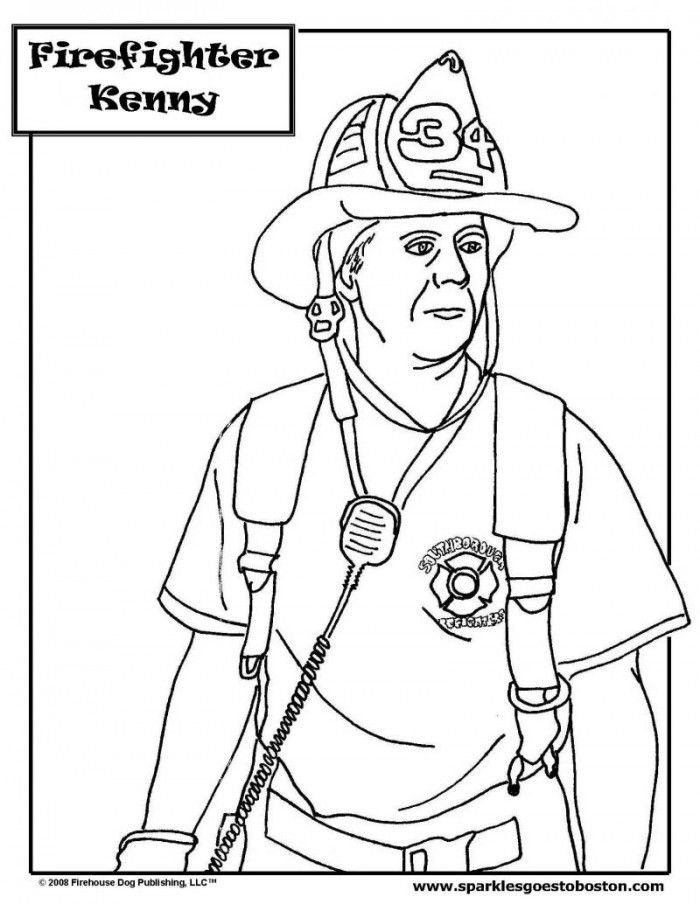 Fireman coloring pages for kids coloring home for Firefighter coloring pages printable