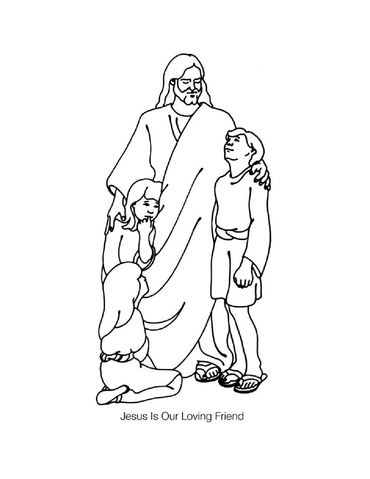 Coloring Page Jesus And Children Pages Az