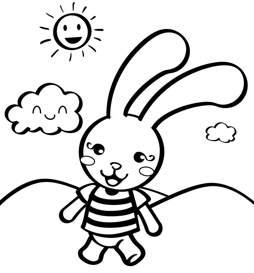Cute Rabbit Coloring Page Source Gu Creativity | ViolasGallery.com