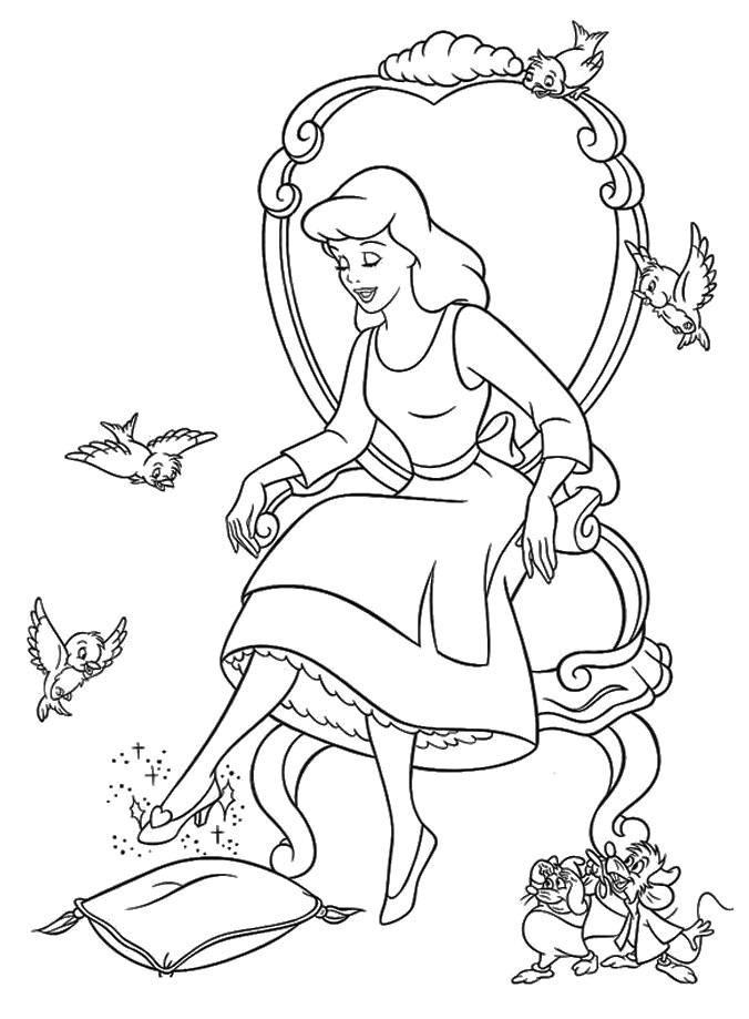cinderella and prince charming coloring pages az coloring pages Cartoon Cinderella Slipper  Cinderella Slipper Coloring Page