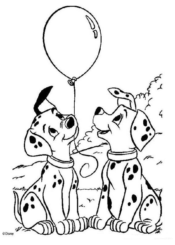 Puppy Coloring Pages Pdf : Dalmatians coloring pages puppies with balloons az