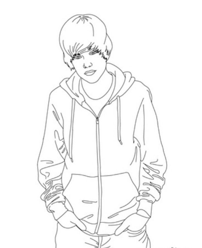 Justin Bieber with Hands in the Pockets Coloring Page – Printable