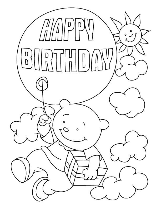 Flying with a birthday balloon coloring pages | Download Free