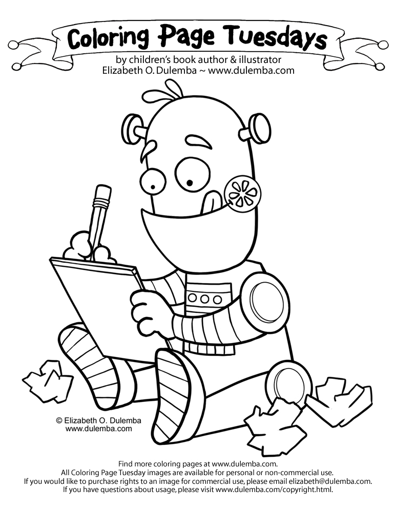 dulemba: Coloring Page Tuesday - Writing Robot