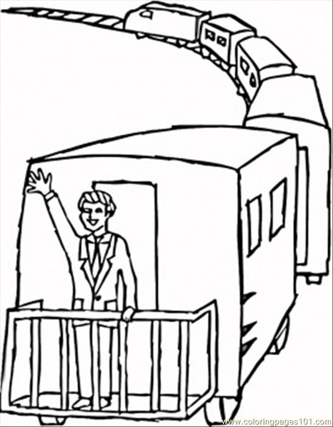 Coloring Pages Waving From Caboose (Transport > Land Transport ...