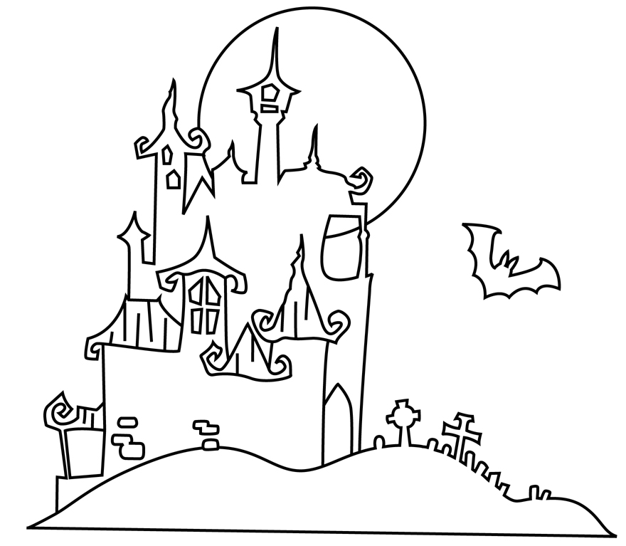 Halloween Haunted Houses Colouring Pages Page 3
