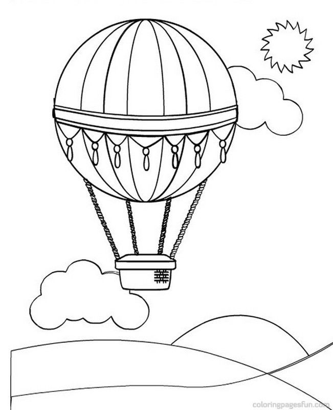 Hot air balloon Coloring Pages 4 | Preschool activities
