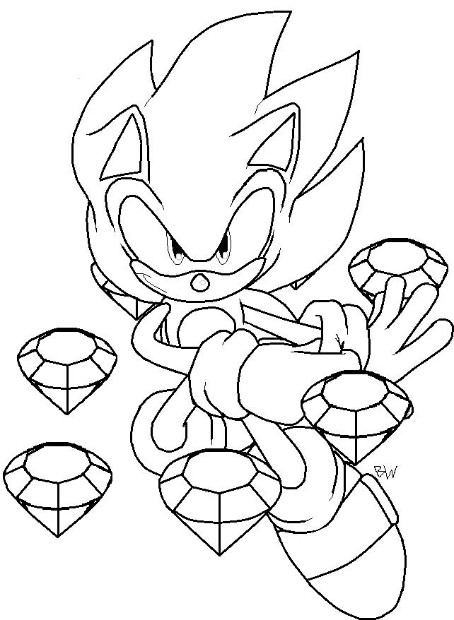 Super Sonic Coloring Page - Coloring Home