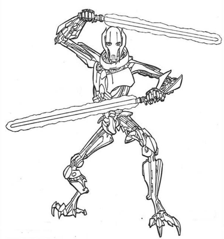 Print Star Wars Coloring Pages General Grievous Or Download Star ...