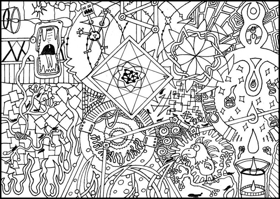 trippy mushroom coloring pages - photo#8