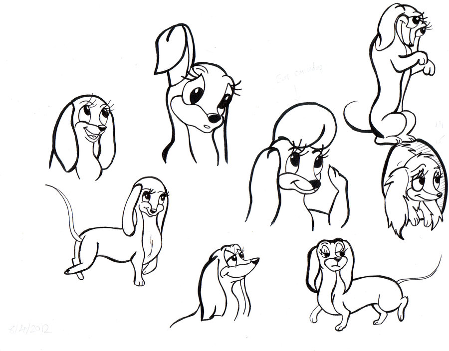 how to draw a cartoon dachshund