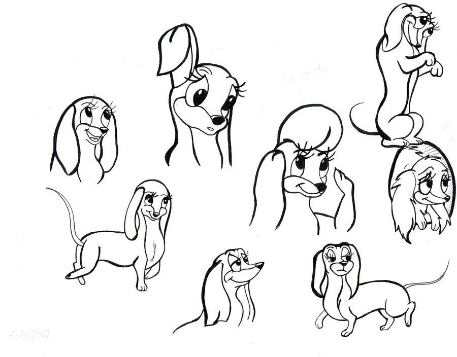 how to draw a cartoon dachshund