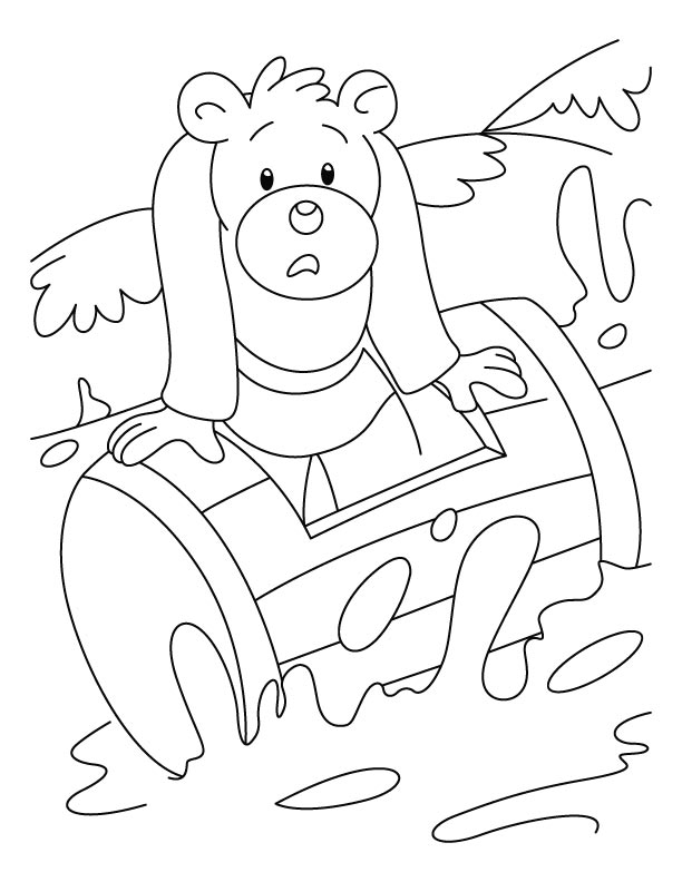 Bear struck in waves coloring pages | Download Free Bear struck in