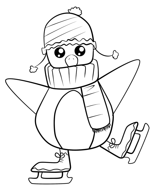 penguins ice skating coloring pages - photo#4