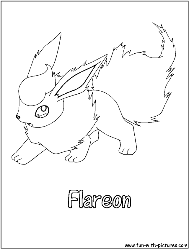 Pokemon advanced coloring pages flareon coloring pages for Flareon coloring page