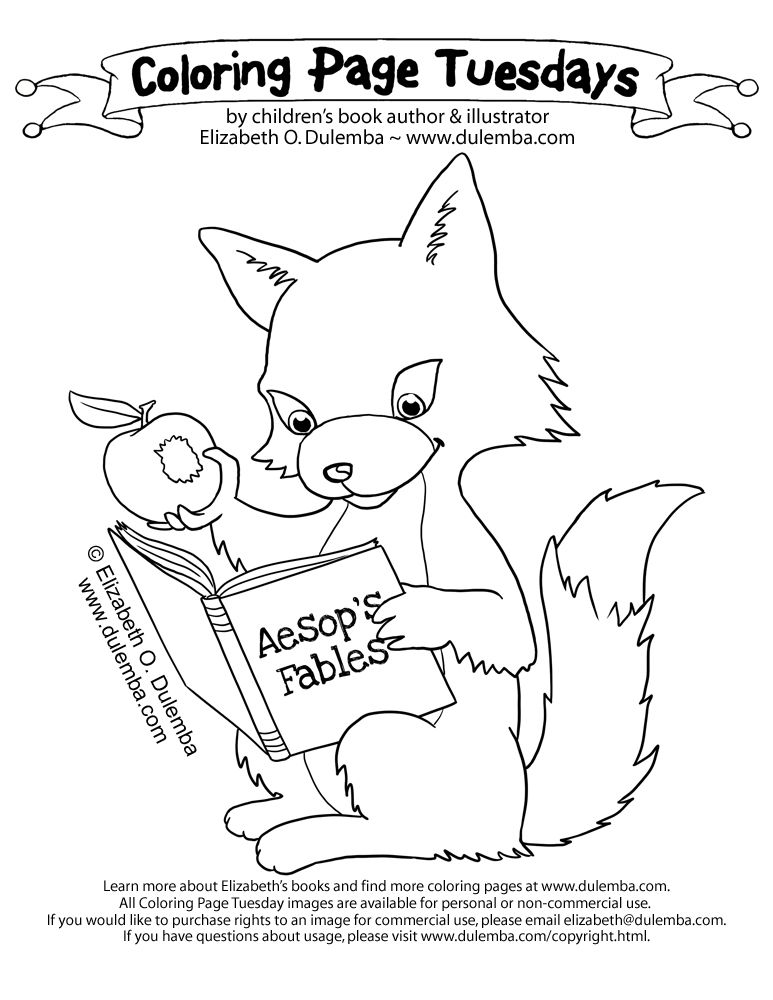 dulemba: Coloring Page Tuesday - Reading Fox