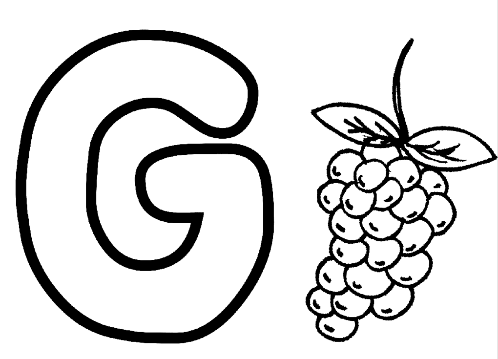 Download Coloring Pages Alphabet G For Grapes Or Print Coloring
