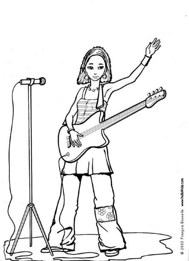 Rock Guitar Coloring Pages - Coloring Home