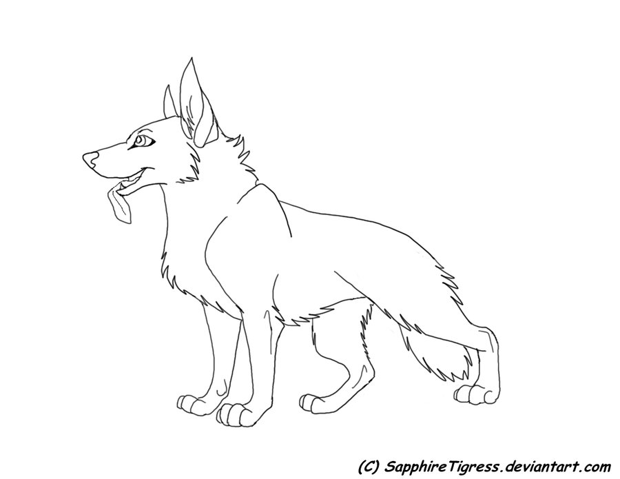 Simple german shepherd coloring pages for German shepherd coloring pages printable