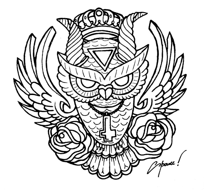 tattoo owl coloring pages - photo#15