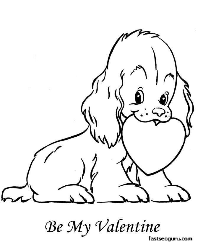dog with heart coloring pages printable for kids