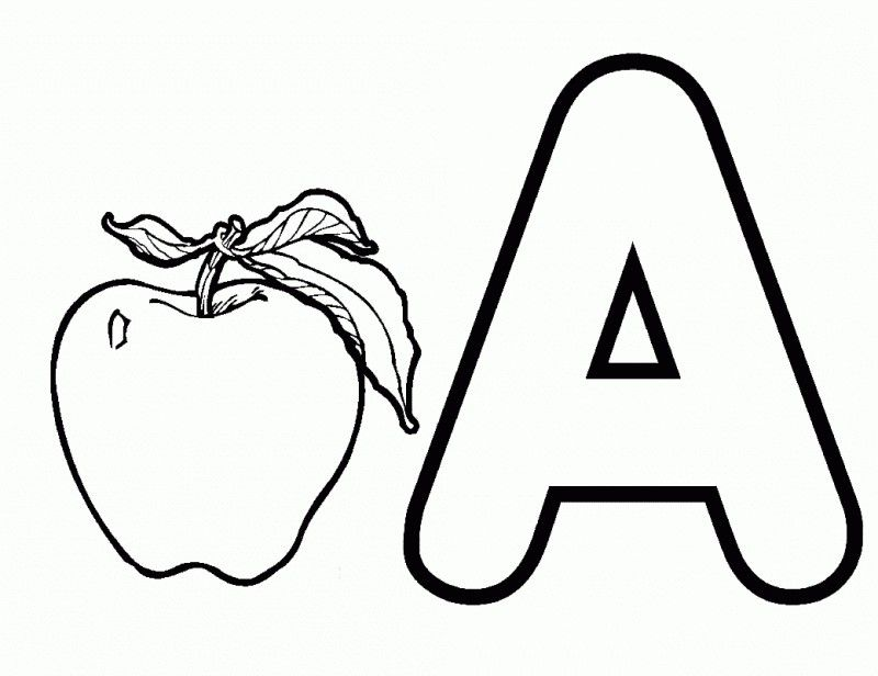 Letter A And Apple Fruit Coloring Page Kids Colouring