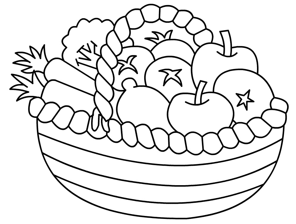 Basket Coloring Page Wide Basket Coloring Pages