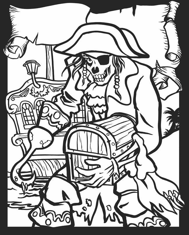 Zombie Coloring Pages | Skull Day of the dead coloring!