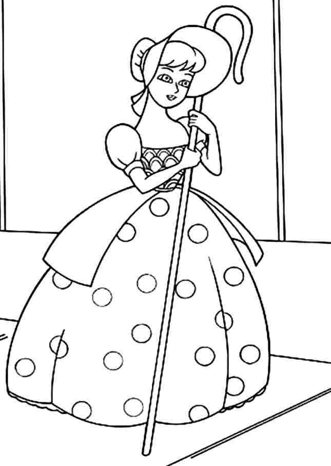 Free toy story movie coloring home for Little bo peep coloring pages