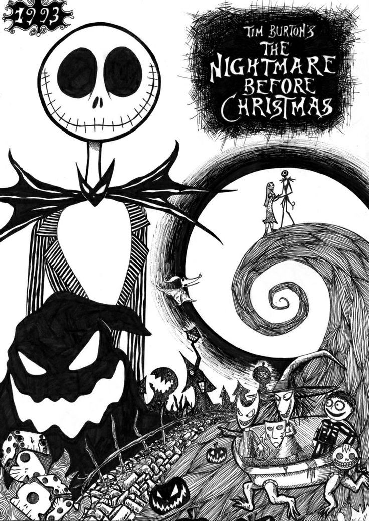 Nightmare before christmas printable coloring pages for Jack and sally coloring pages