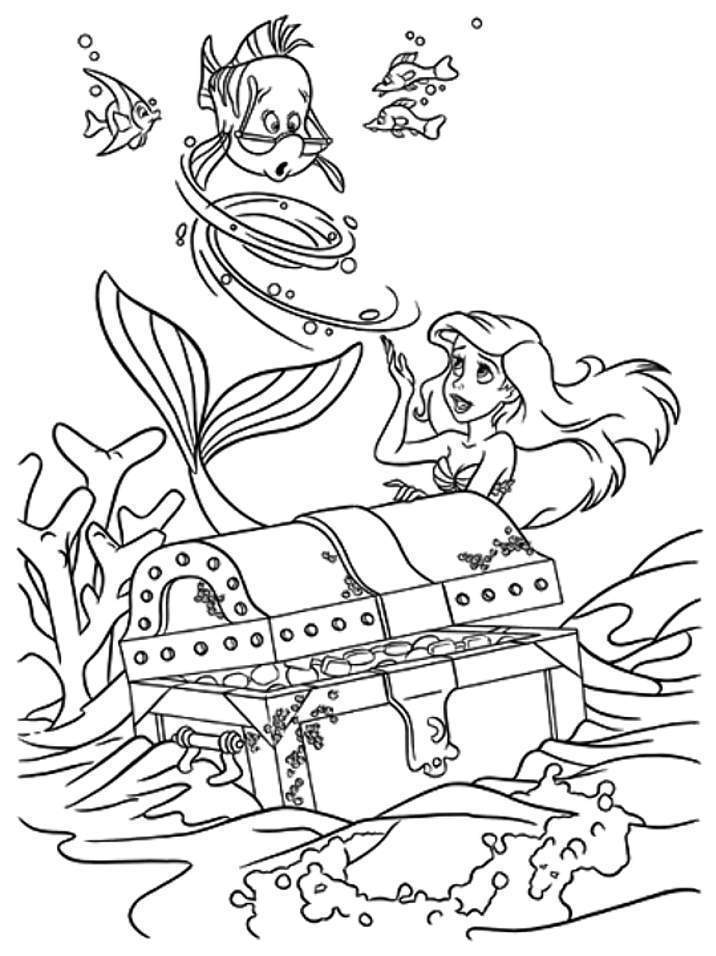 The Little Mermaid With Flounder Coloring Pages