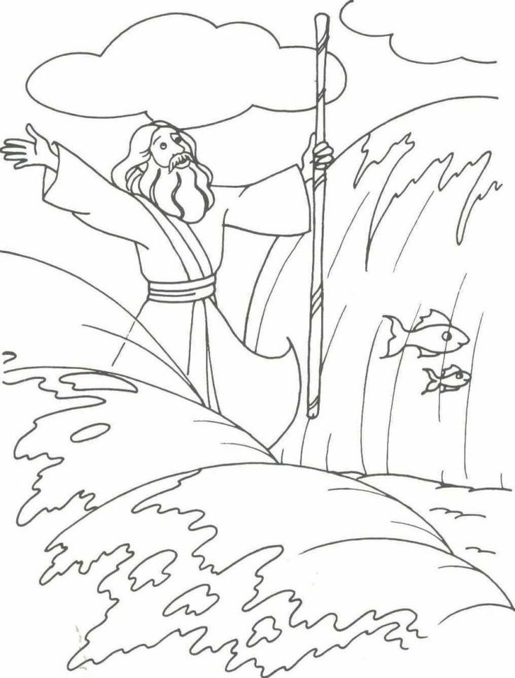 Parting Of The Red Sea Coloring Page
