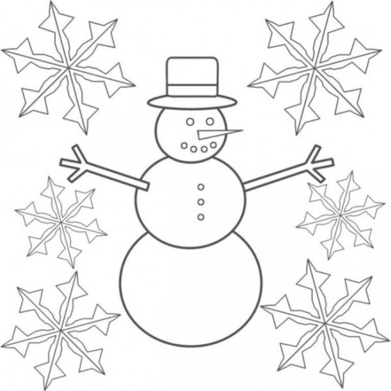 Download Snowman And Snowflake Coloring Pages Or Print Snowman And