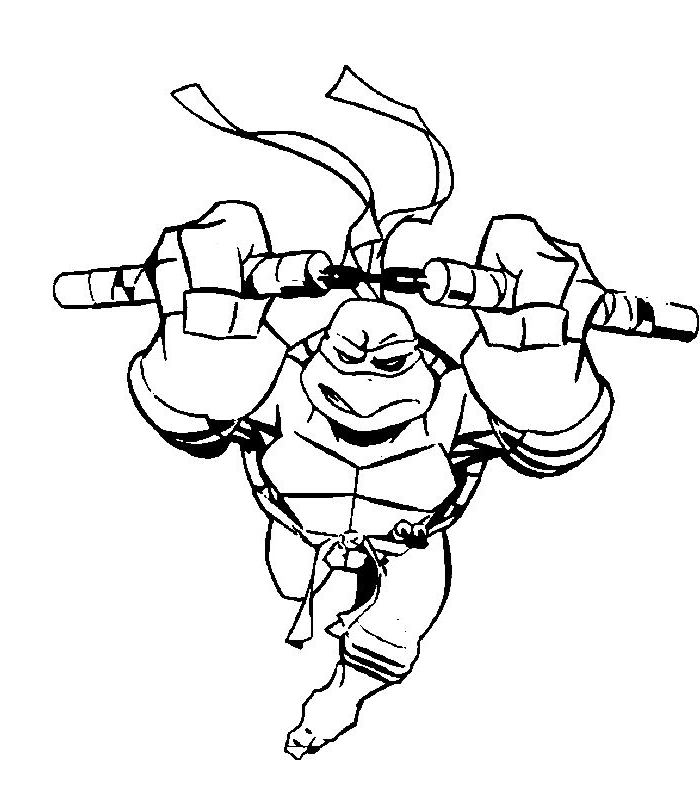 Michelangelo Play Skateboard Coloring Pages - Ninja Coloring Pages