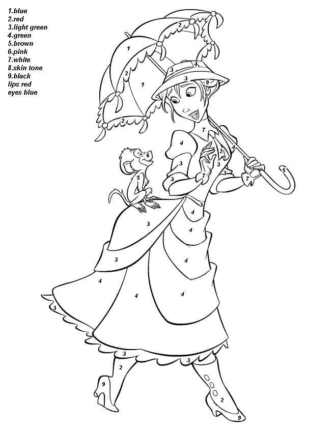 color by number disney Colouring Pages
