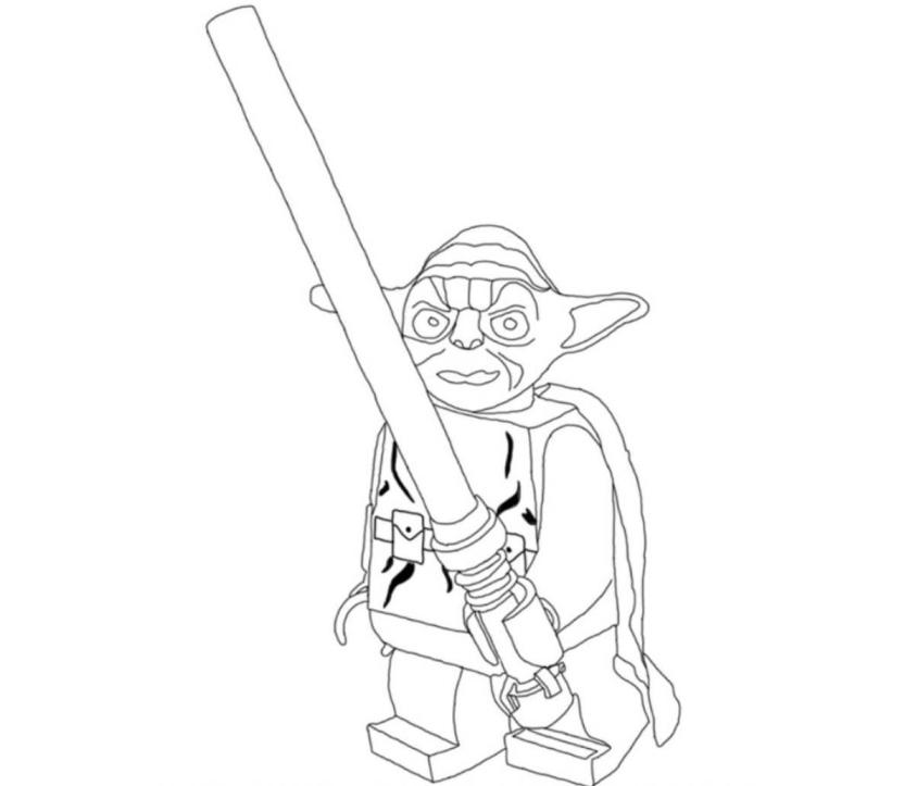 Star Wars Coloring Pages Pdf : Print lego star wars yoda holding lightsabers coloring