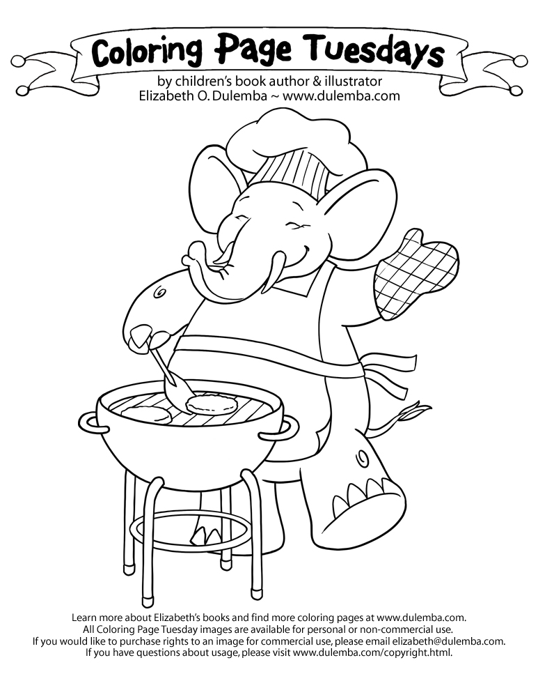 dulemba: Coloring Page Tuesday - Elephant BBQ-