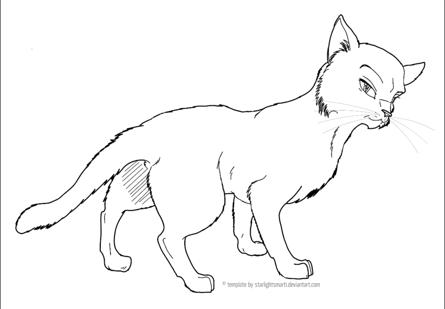 Warrior Cat love Free lineart by Tesseri-
