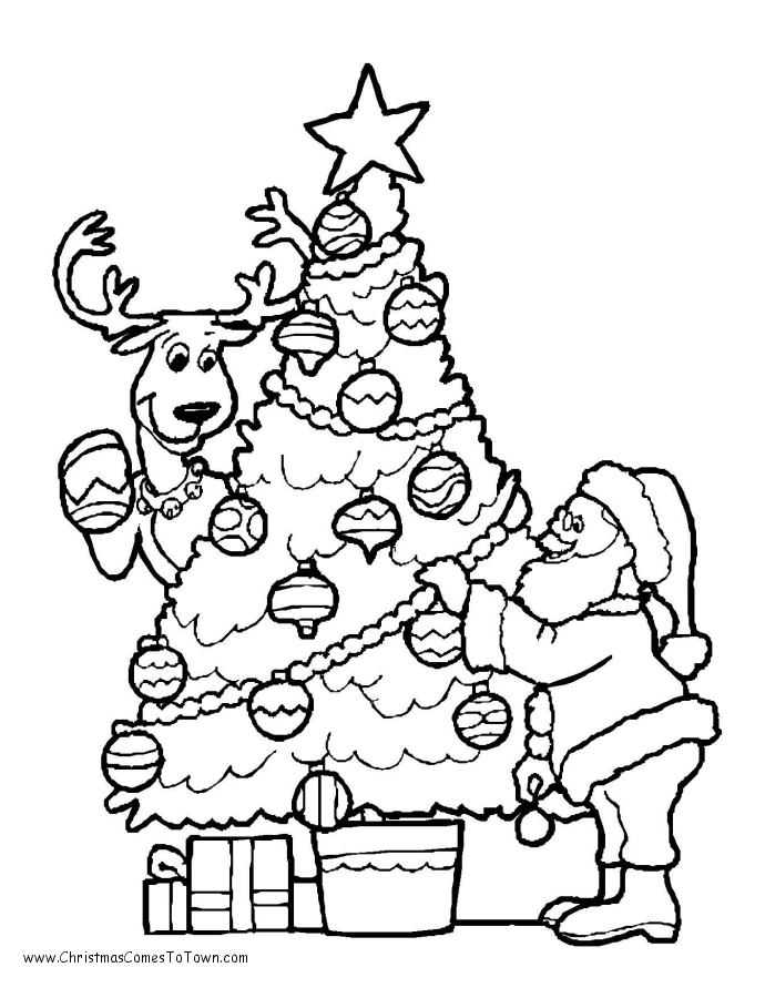 christmas tree present coloring pages - photo#2