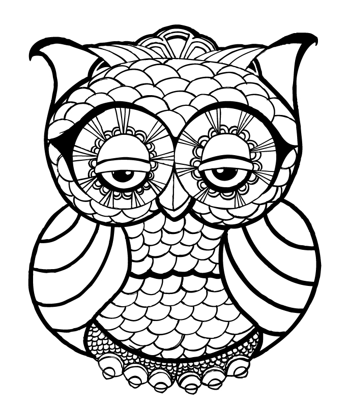 owl face drawing az coloring pages