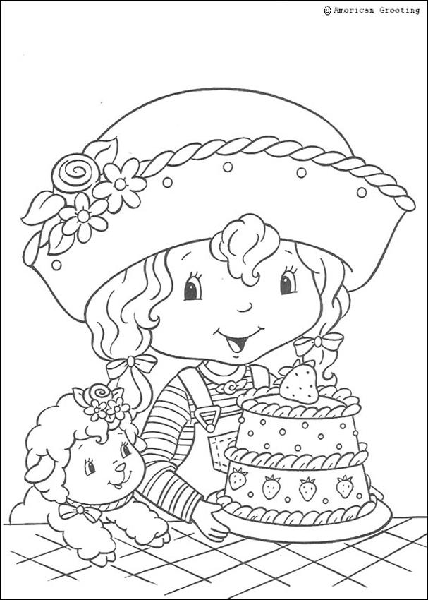 STRAWBERRY SHORTCAKE coloring pages - Angel Cake with a cake
